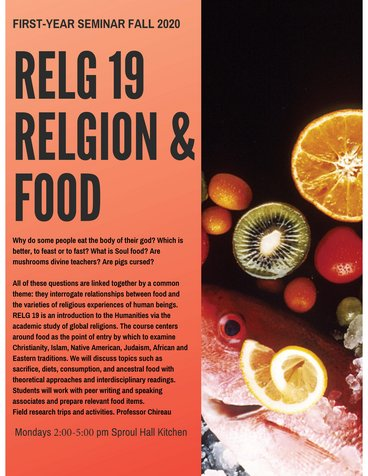 RELG 019. FYS: Religion and Food course poster Fall 2020