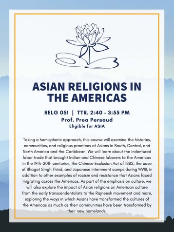 RELG 051. Asian Religion in the Americas poster