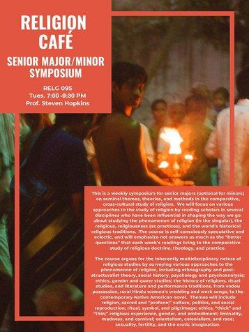 RELG 095. Senior Cafe Symposium course poster Fall 2020