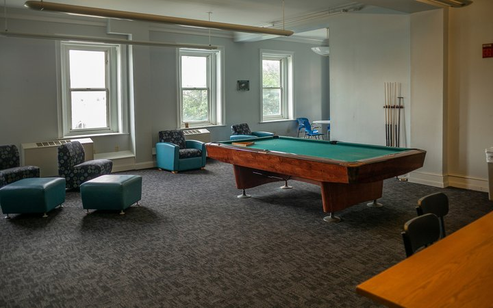 Interior room with pool table and gray couches