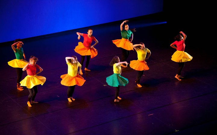 student dancers on stage