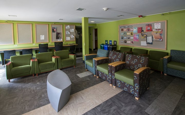 Green chairs inside lounge with gray carpet and green walls