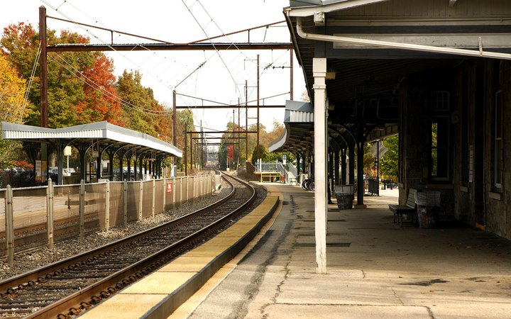 Swarthmore train station scene in Fall