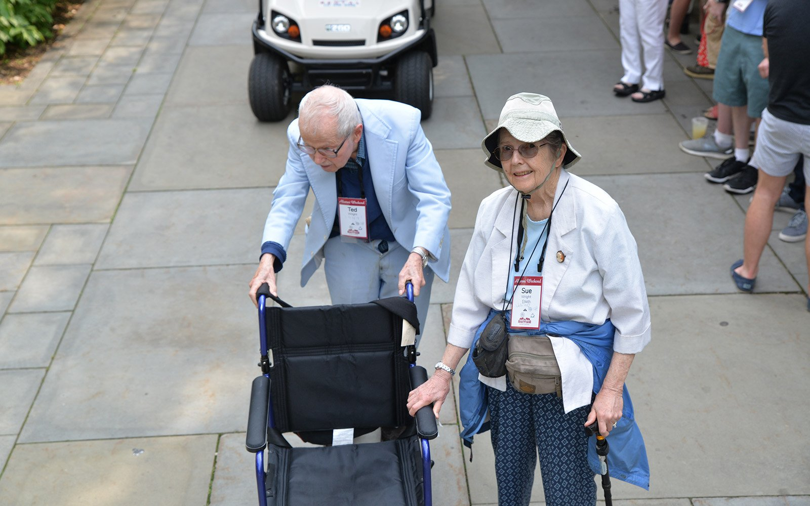 Ted and Sue Wright '49 lead the Parade of Classes.