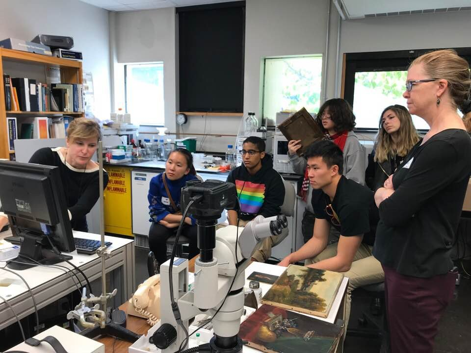 Art History class trip to conservation department at Winterthur.