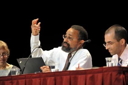Edley speaking at a symposium