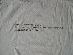 2001 shirt front: haiku