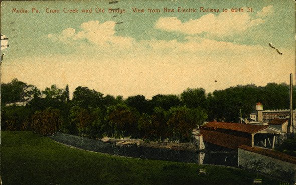 Colored postcard of the covered bridge over Crum Creek looking toward Swarthmore, ca. 1920