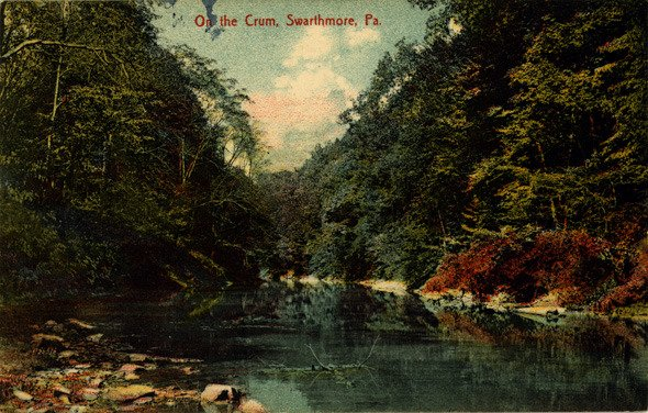 Colored postcard of Crum Creek in Swarthmore in about 1920
