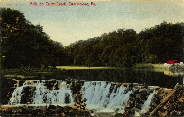 Colored postcard of the falls of Crum Creek in Swarthmore, ca. 1920