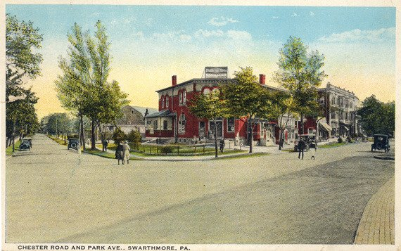 """Colored postcard of """"Michael's Corner"""" on South Chester Road in Swarthmore, before the underpass was built"""