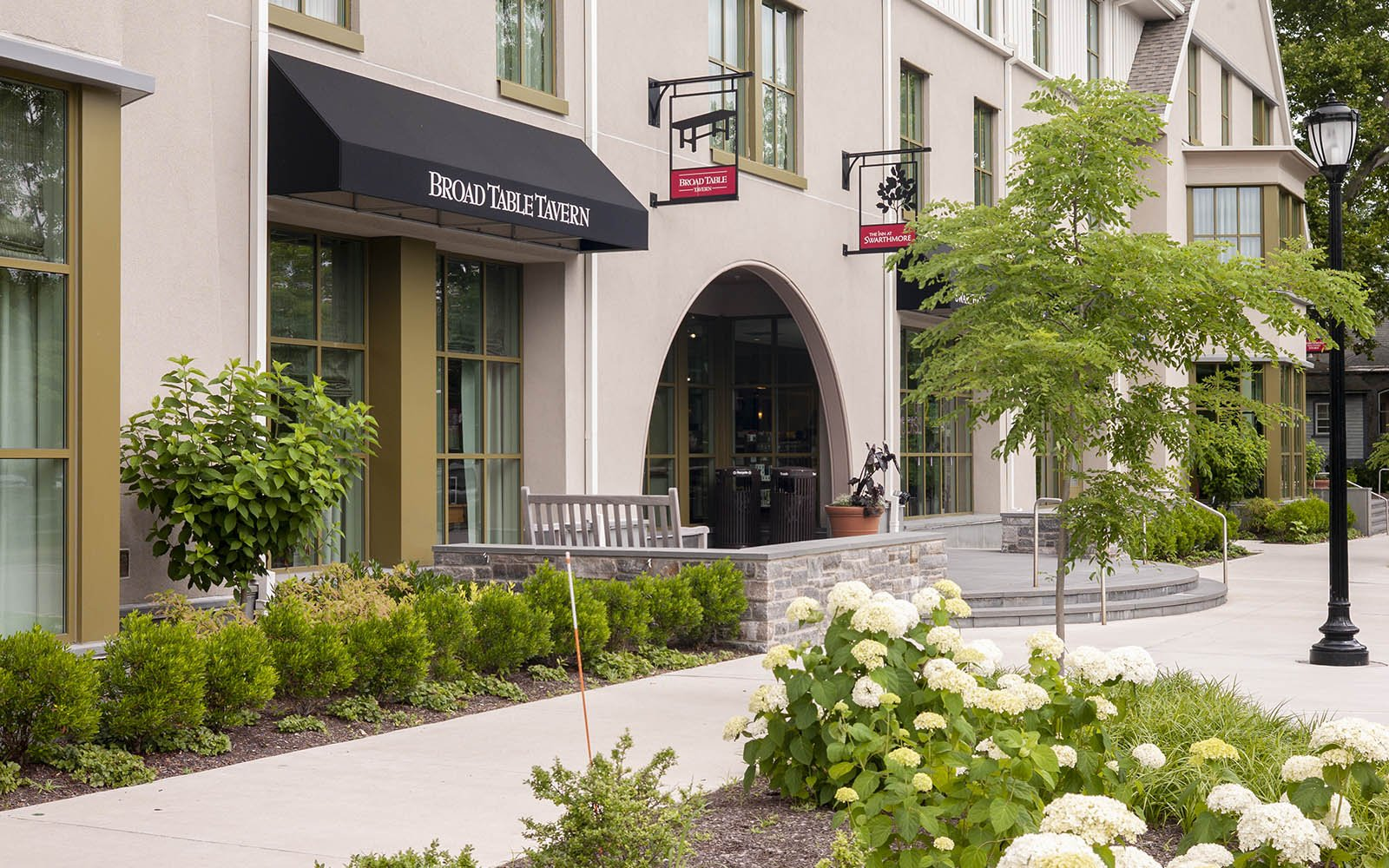 Exterior shot of the Inn at Swarthmore and the College Bookstore