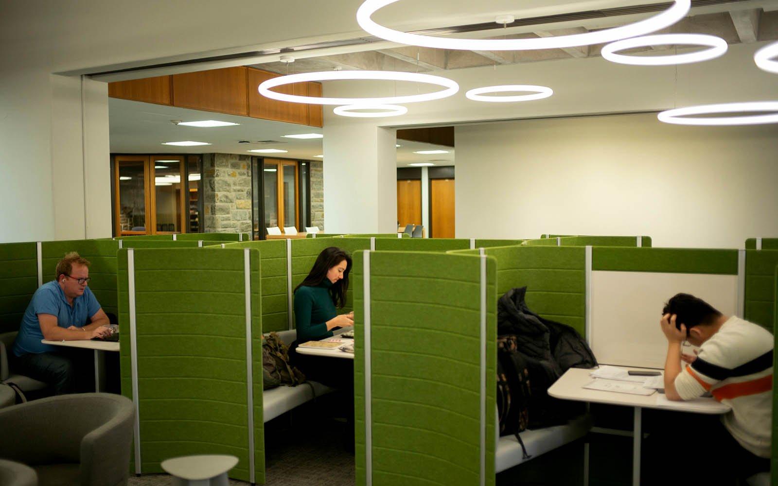 students in study carrels