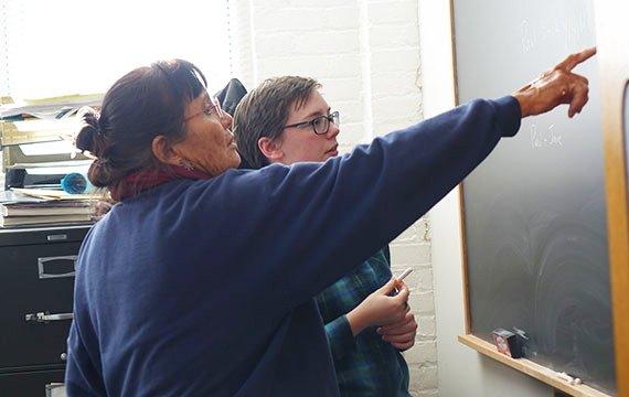 rene Silentman(left), Visiting Instructor, working with student Lauren Pronger,