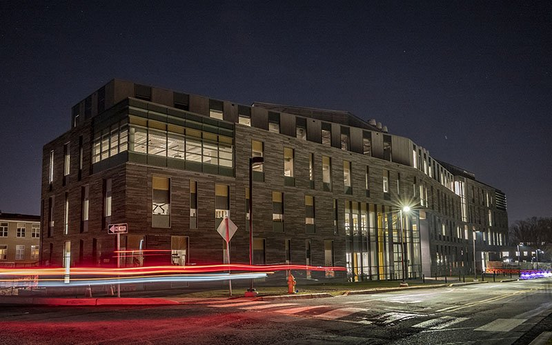 science center at night