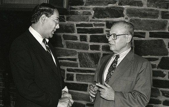 Eugene Lang '38 and Neil Austrian '61