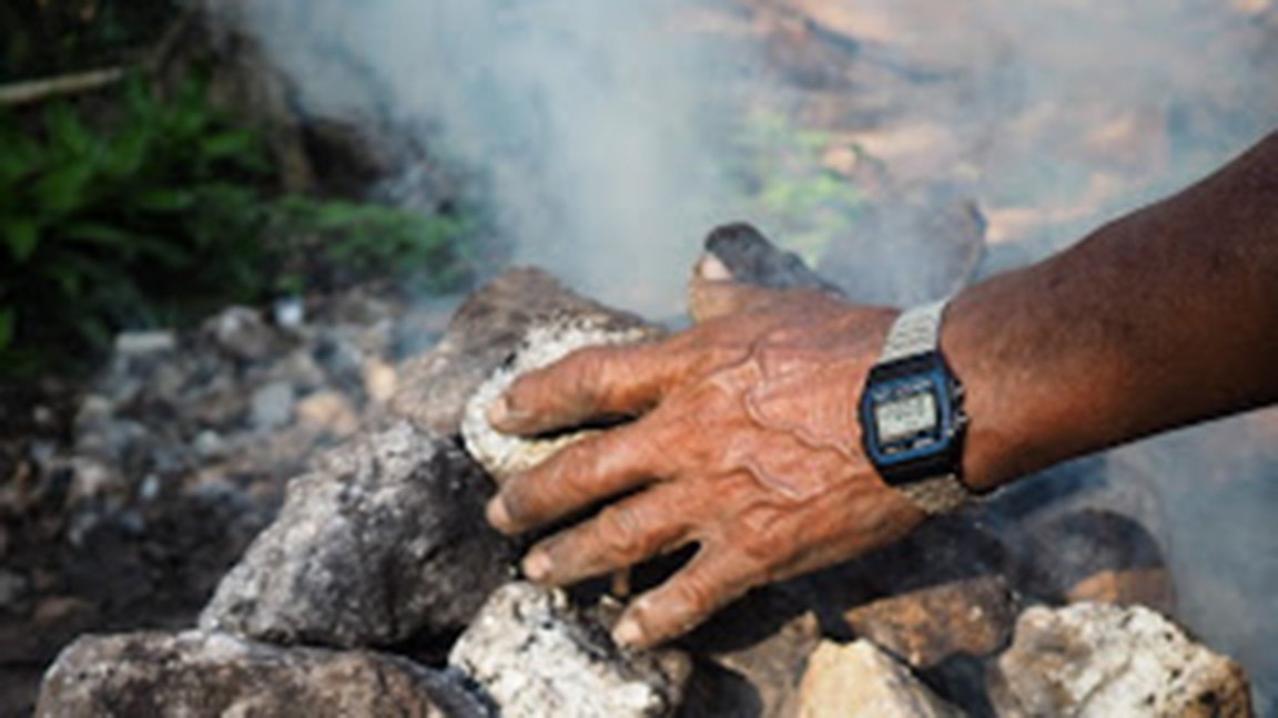 hand and wrist with watch on rock