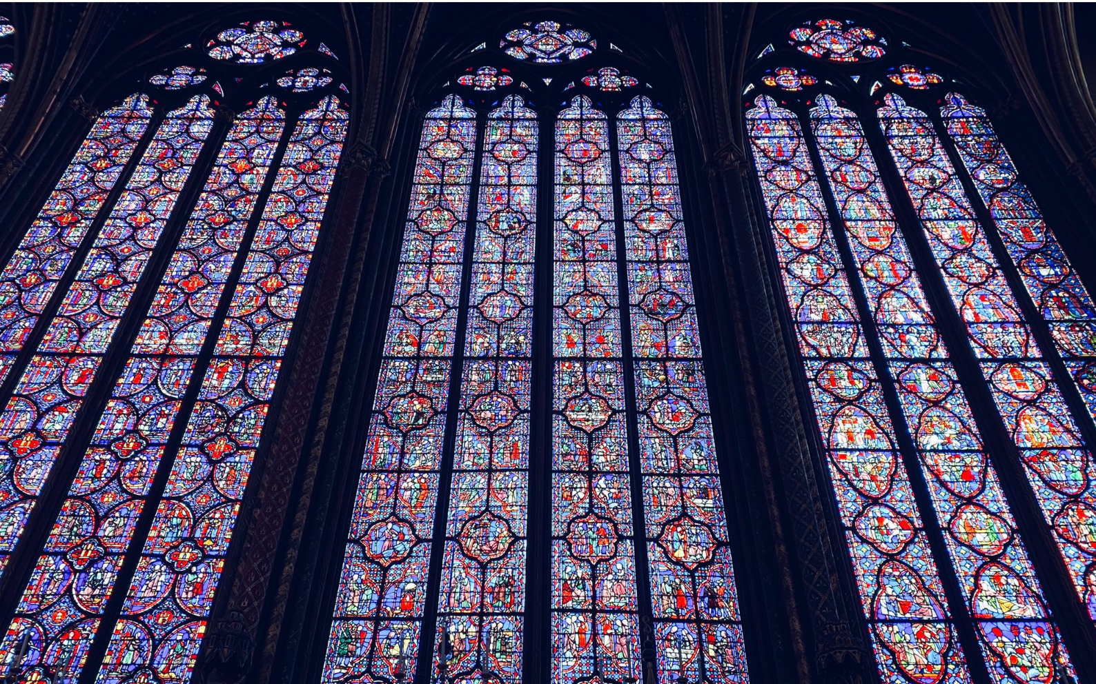 beautifully colored windows in cathedral