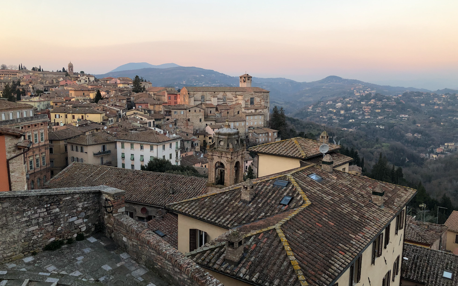view of rooftops in small village Italy