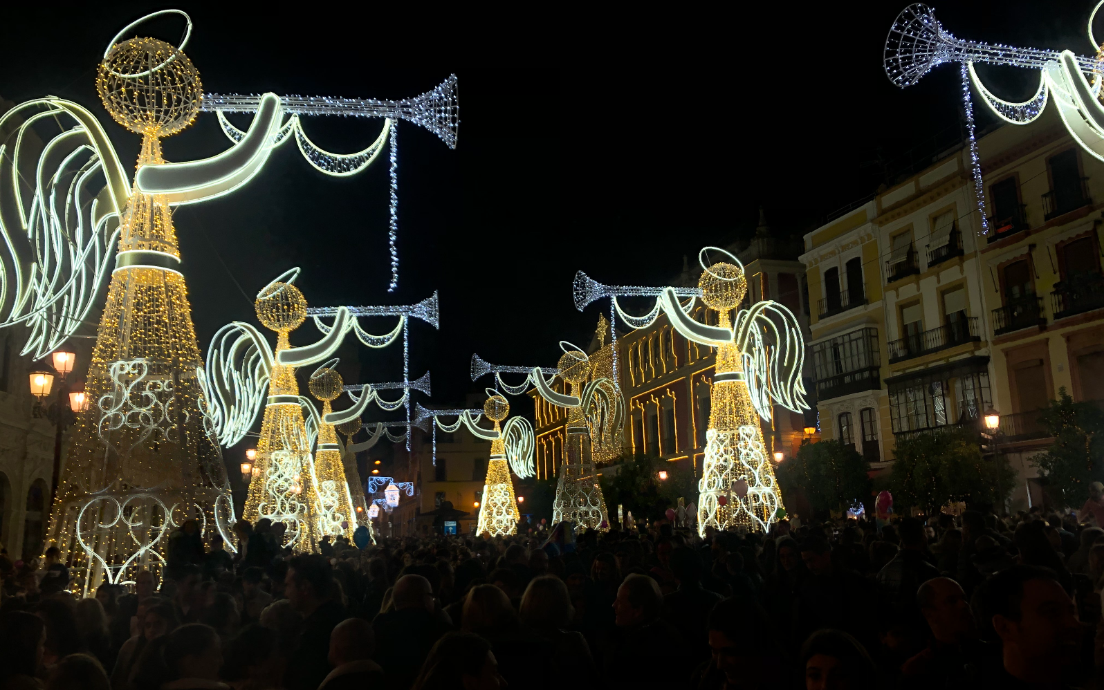 winter holiday decorations in Seville
