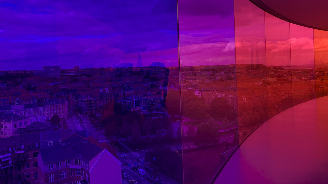 areal view of Copenhagen in two colors, blue and red