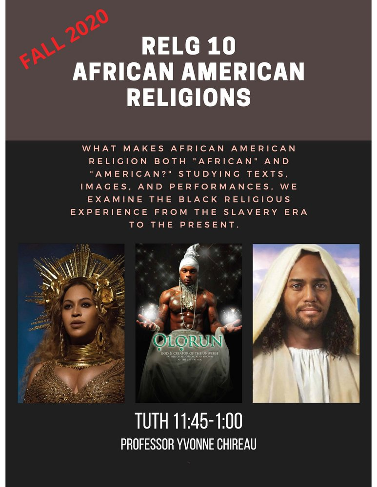 RELG 010. African American course poster Fall 2020