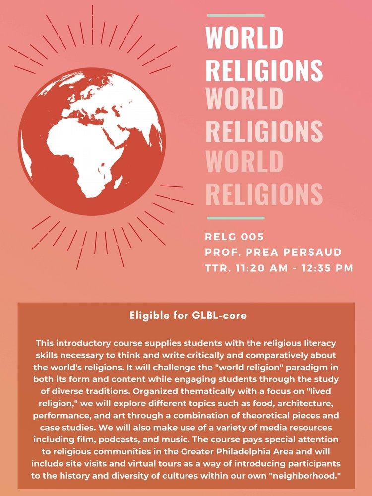 RELG 005. World Religions poster