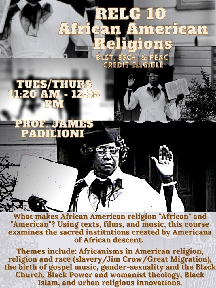 RELG 010. African Americans Religions poster