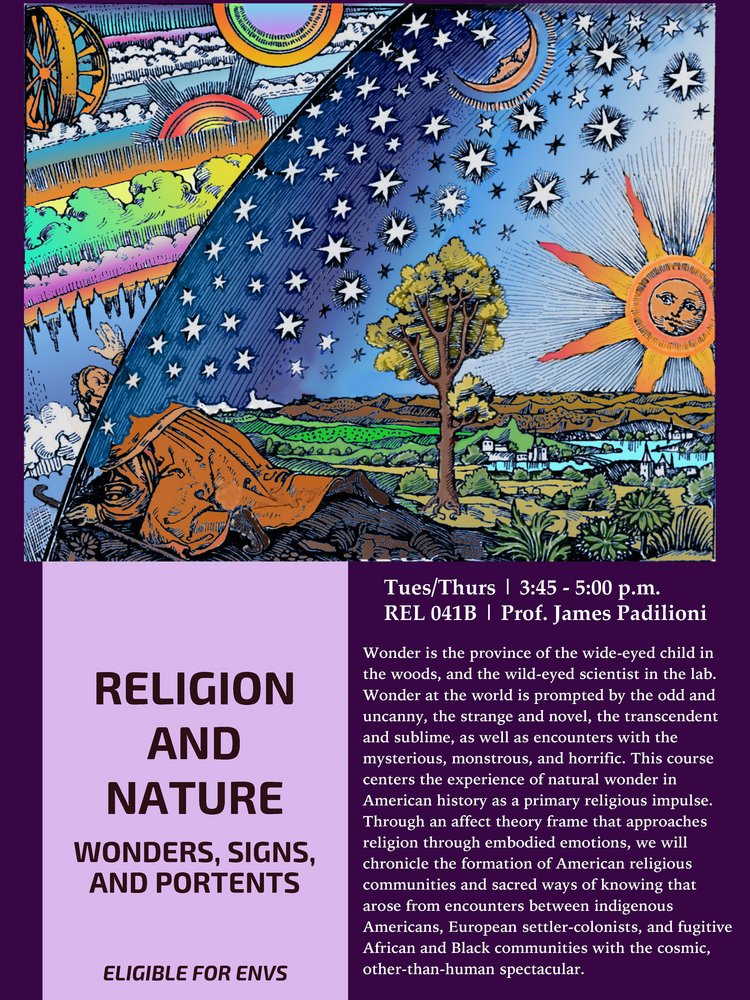 RELG 041B. Religion & Nature: Wonders, Signs, & Portents course poster Fall 2020