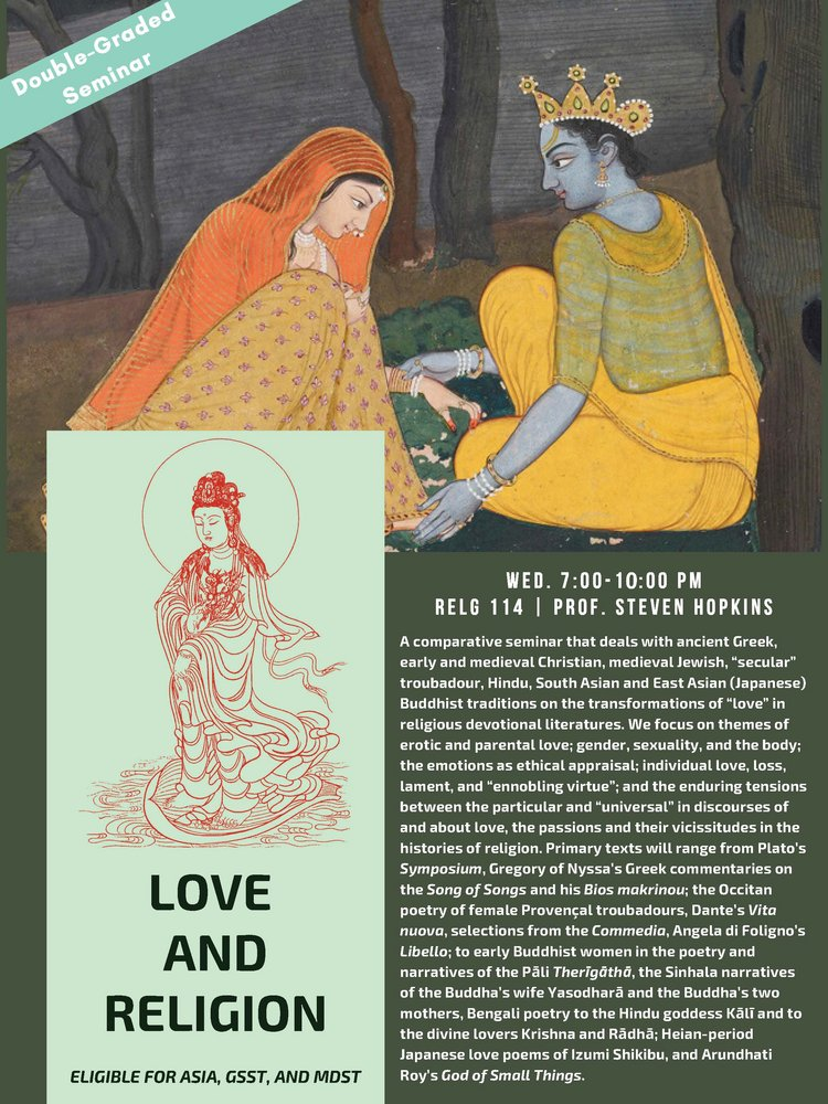 RELG 114. Love and Religion course poster Fall 2020