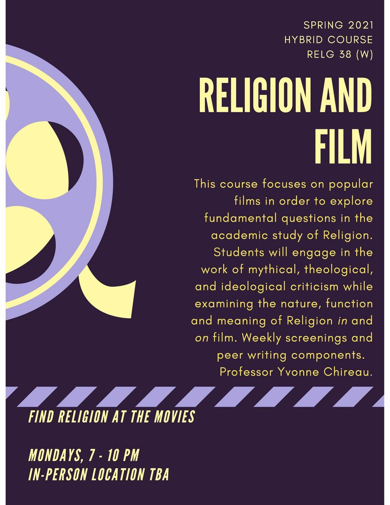 RELG 038. Religion and Film Spring 2021 poster