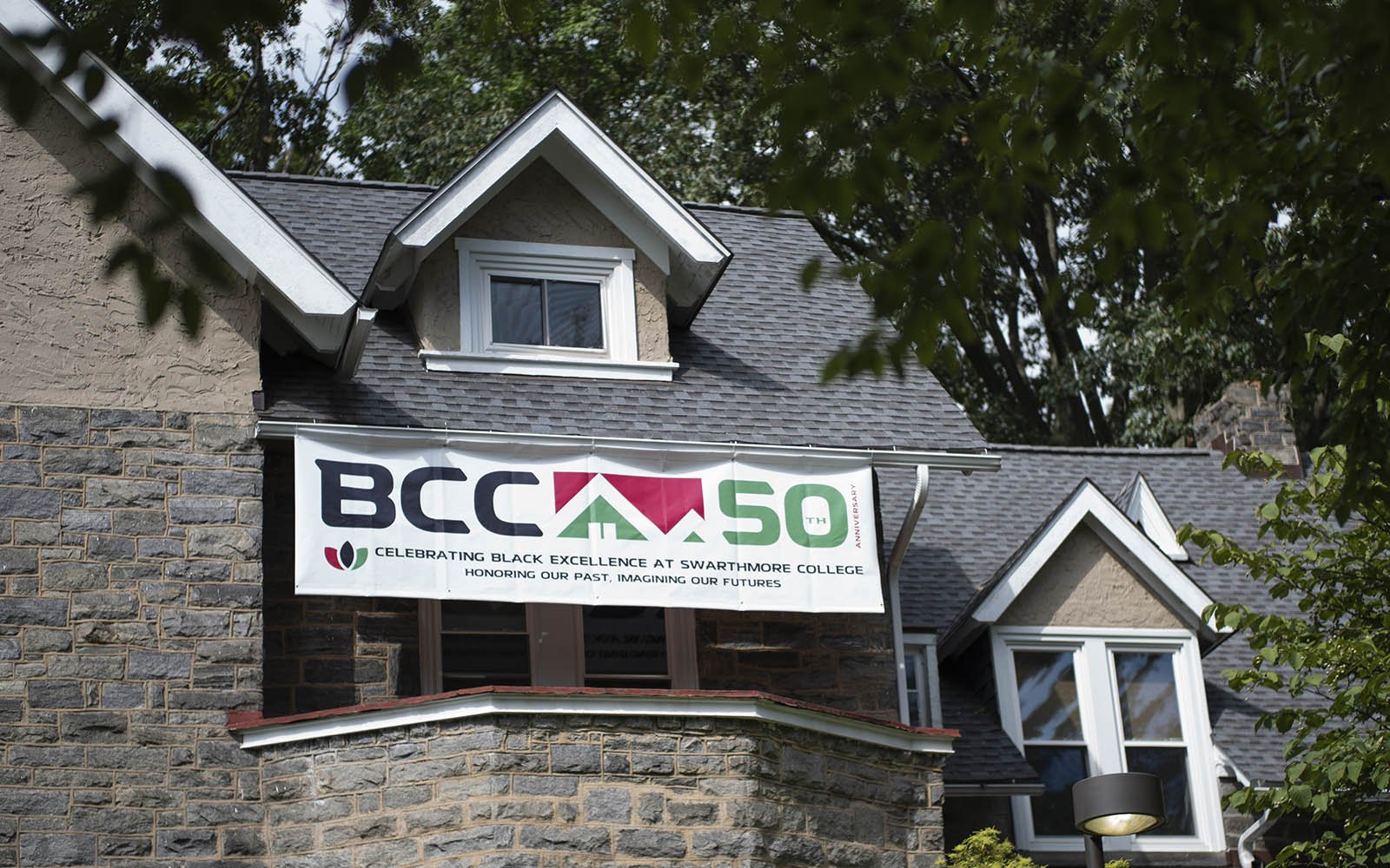 Celebrating Black Excellence sign hangs over Robinson House