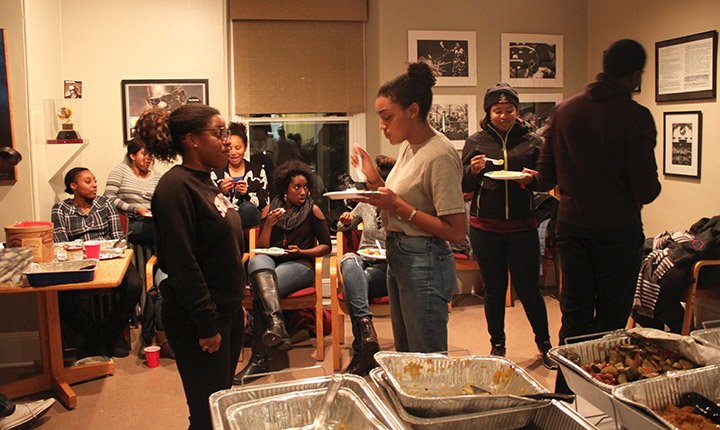 Students enjoy Thanksgiving dinner in the BCC