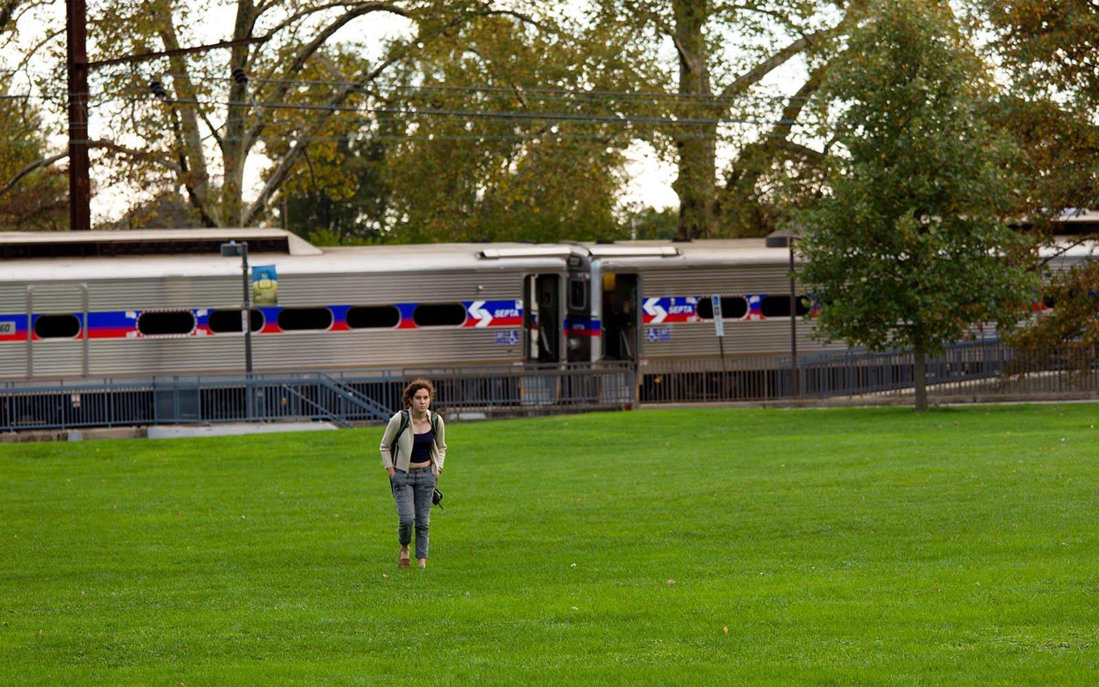 Swarthmore student walks away from departing SEPTA train