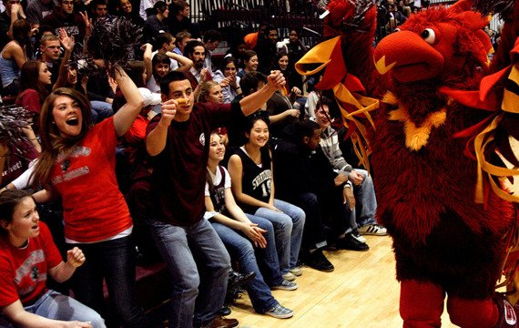 Go Garnet! Phineas the Phoneix cheers on Swarthmore's teams
