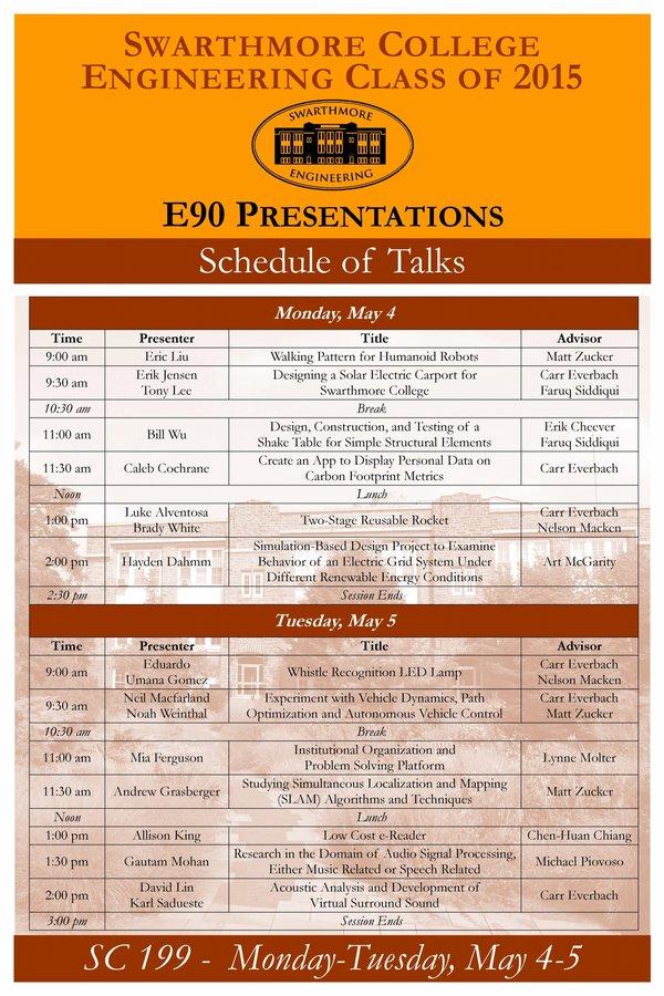 2015 E90 Presentation Schedule