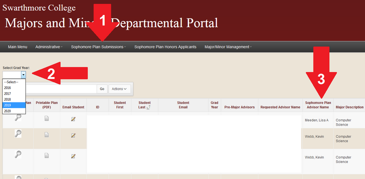 Image of Majors and Minors Departmental Portal