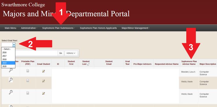 Image of Majors and Minors Departmental Portal
