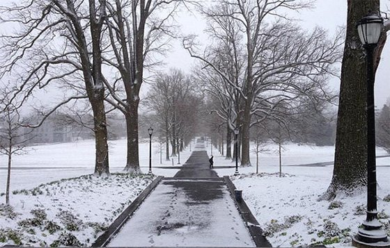 Image of a snowy day at Swarthmore College.