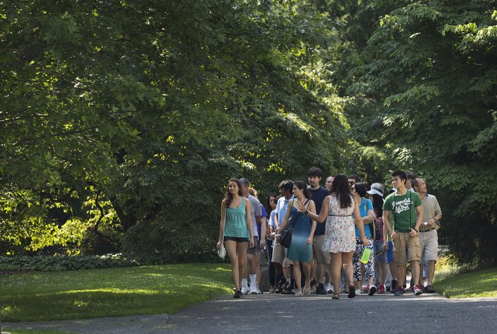 Group tour of campus