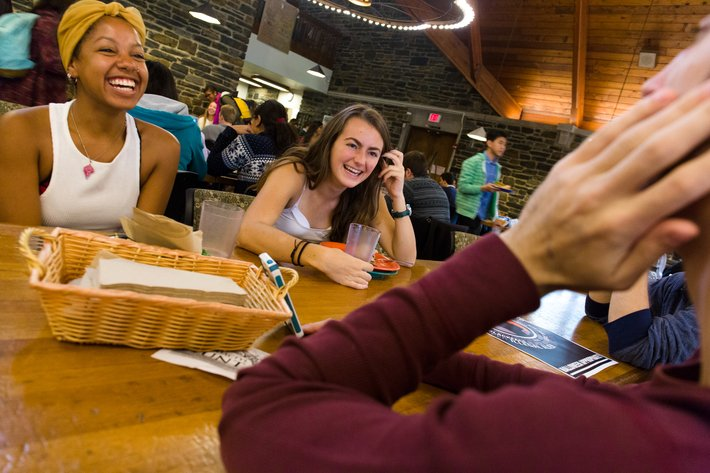 Students Laughing in the Sharples Dining Hall