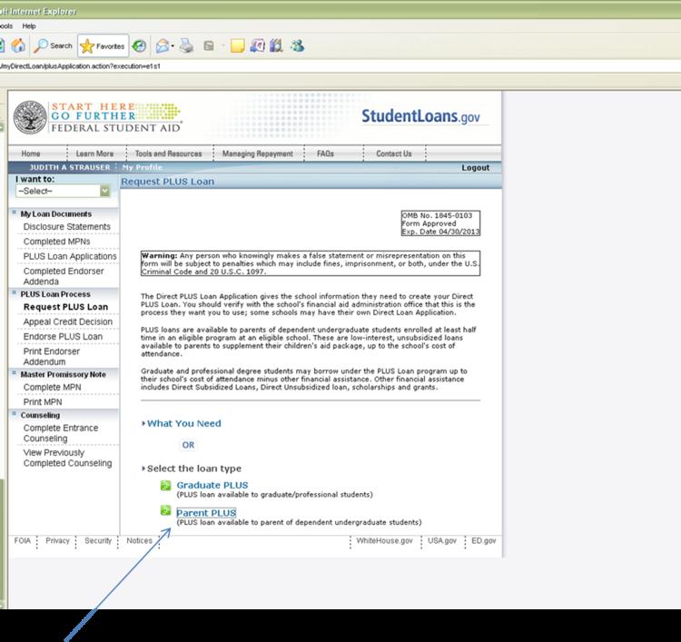 webshot of choosing PLUS loan