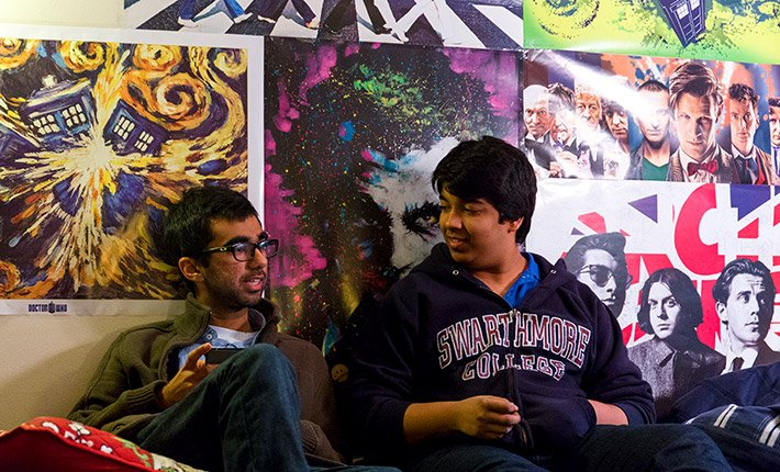 Two students talking in residence hall