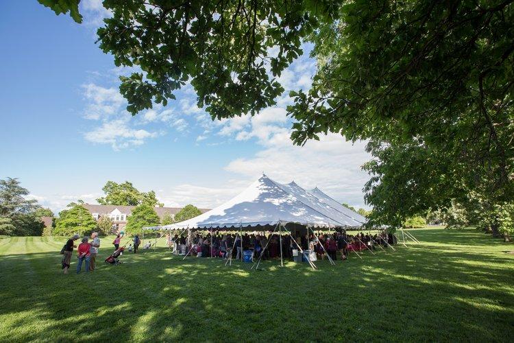 Alumni Weekend tent on Parrish Beach