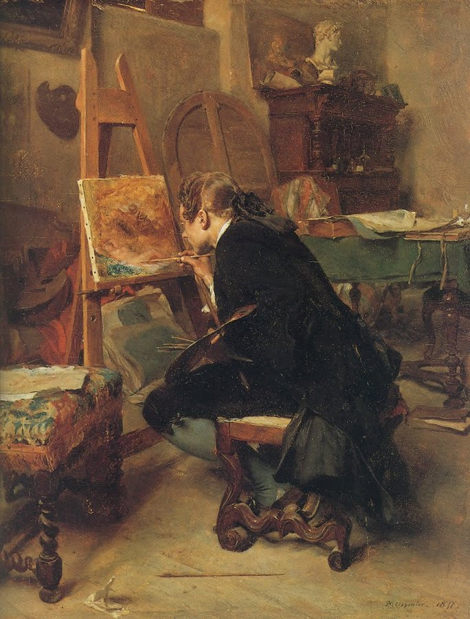 Ernest Meissonier, Painter at His Easel