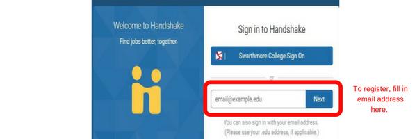 handshake registration page