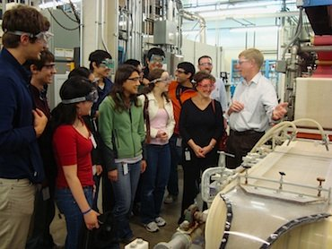 Chem 46 students learning about the industrial machinery at AWT.