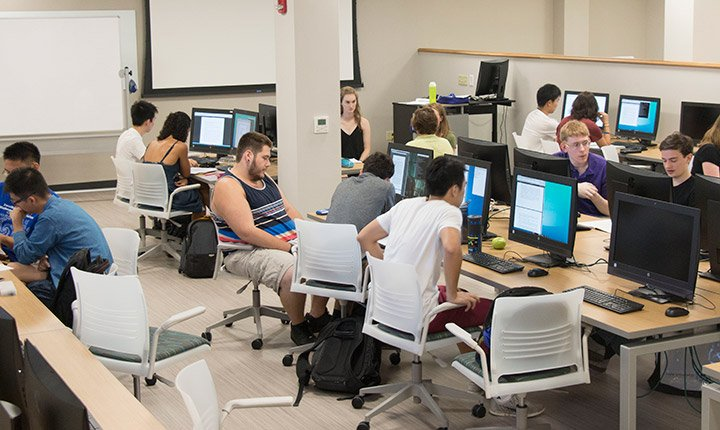 Students in the new computer lab