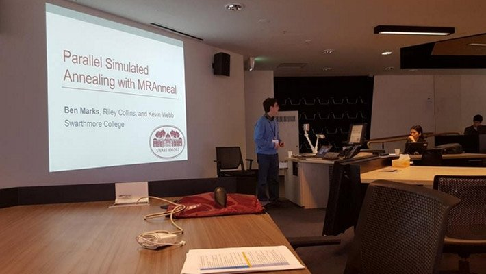 Ben Marks '16 presents his research at a conference in Australia