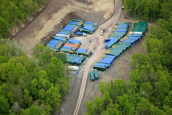 Container Trucks with Fracking Liquids at a Drilling Site, Dimock, PA